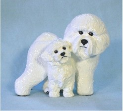 Bichon Frise and Pup Ron Hevener Limited Edition Dog Figurine