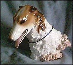 Borzo Bust with Roses Ron Hevener Limited Edition Dog Figurine