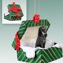 Saluki Green Gift Box Christmas Ornament