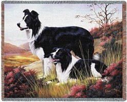 Border Collies Throw Blanket, Woven in the USA