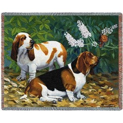 Basset Hounds and Butterflies Throw Blanket, Made in the USA