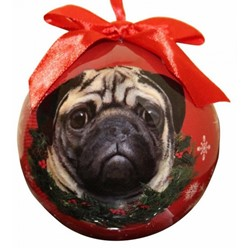 Pug Ball Christmas Ornament