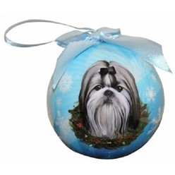 Shih Tzu Black & White Ball Christmas Ornament