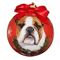 Bulldog Ball Christmas Ornament