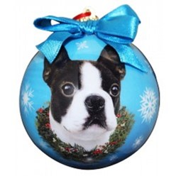 Boston Terrier Ball Christmas Ornament