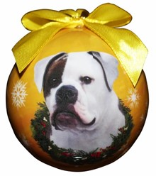 American Bulldog Ball Christmas Ornament