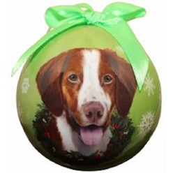 Brittany Spaniel Ball Christmas Ornament