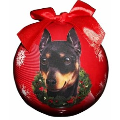 Miniature Pinscher Ball Christmas Ornament