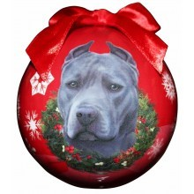 Pit Bull Ball Christmas Ornament