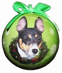 Rat Terrier Ball Christmas Ornament