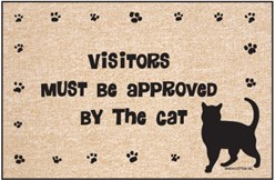 Visitors Must Be Approved by the Cat Door Mat