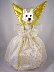 White German Shepherd Dog Angel Tree Topper