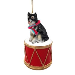 Alaskan Malamute Drum Christmas Ornament
