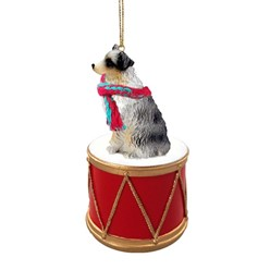 Australian Shepherd Drum Christmas Ornament