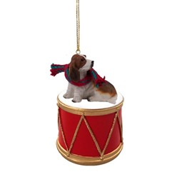 Basset Hound Drum Christmas Ornament