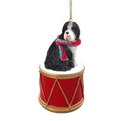 Bearded Collie Drum Christmas Ornament