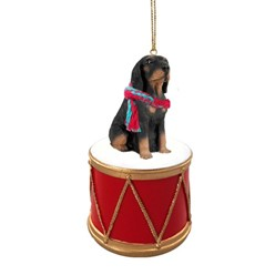 Black and Tan Coonhound Drum Christmas Ornament