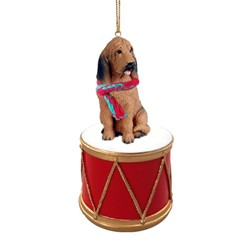 Bloodhound Drum Christmas Ornament
