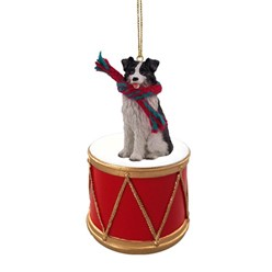 Border Collie Drum Christmas Ornament