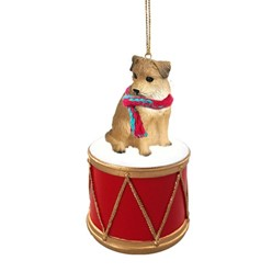 Border Terrier Drum Christmas Ornament
