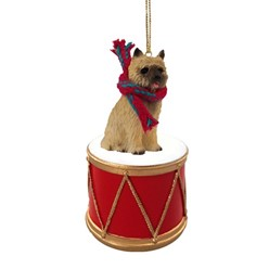Cairn Terrier Drum Dog Christmas Ornament