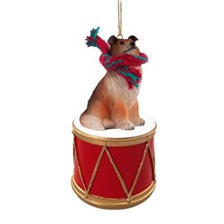 Collie Drum Dog Christmas Ornament