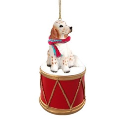 English Setter Drum Dog Christmas Ornament