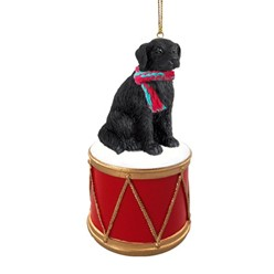Flat Coated Retriever Drum Dog Christmas Ornament