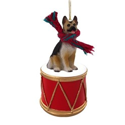 German Shepherd Dog Drum Christmas Ornament- click for more breed colors