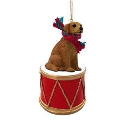 Golden Retriever Drum Christmas Ornament