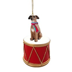 Italian Greyhound Drum Dog Christmas Ornament
