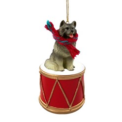 Keeshond Drum Dog Christmas Ornament