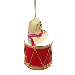 Lhasa Apso Drum Dog Christmas Ornament