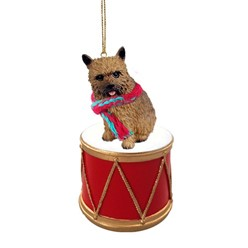 Norwich Terrier Drum Dog Christmas Ornament