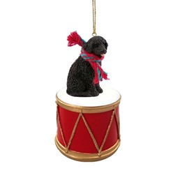Portuguese Water Dog Drum Christmas Ornament