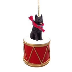 Schipperke Drum Dog Christmas Ornament