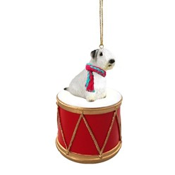 Sealyham Terrier Drum Dog Christmas Ornament