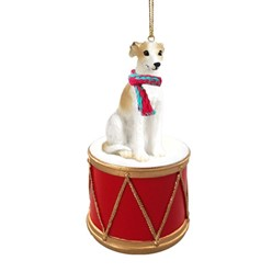 Whippet Drum Dog Christmas Ornament