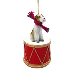 Wire Fox Terrier Drum Dog Christmas Ornament
