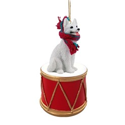 White German Shepherd Dog Drum Christmas Ornament