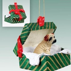 Shar Pei Green Gift Box Dog Christmas Ornament