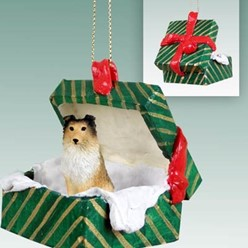 Sheltie Green Gift Box Dog Christmas Ornament- click for more breed colors