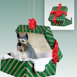 Giant Schnauzer Green Gift Box Dog Ornament- click for more breed colors