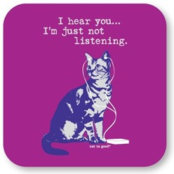 I Hear You Cat Coasters, Set of 12