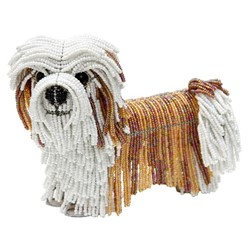 Levi the Lhasa Apso, a Beaded Lhasa Apso Sculpture