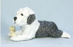 "Old English Sheepdog ""Puppy With Bone"" Ron Hevener Limited Edition Figurine"