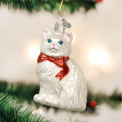 White Cat Old World Christmas Ornament