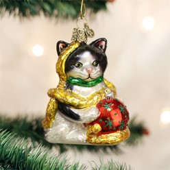 Holiday Cat Old World Christmas Ornament