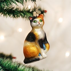 Calico Cat Vintage Christmas Ornament