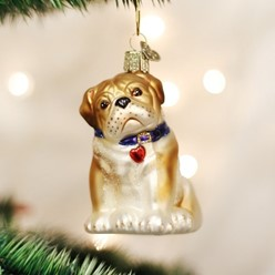 Bulldog Pup Old World Christmas Dog Ornament
